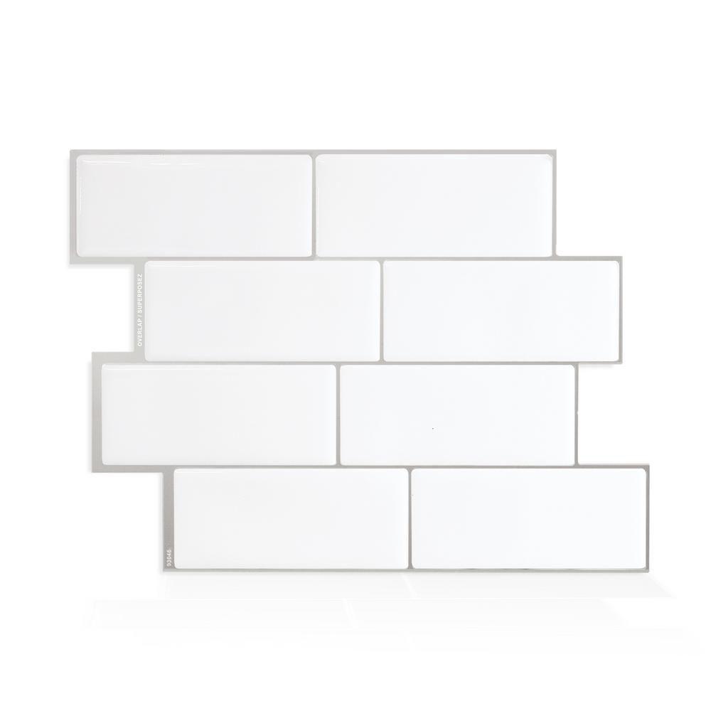 Metro Campagnola Placa para salpicaduras de azulejos decorativos de pared de mosaico blanco despegar y pegar