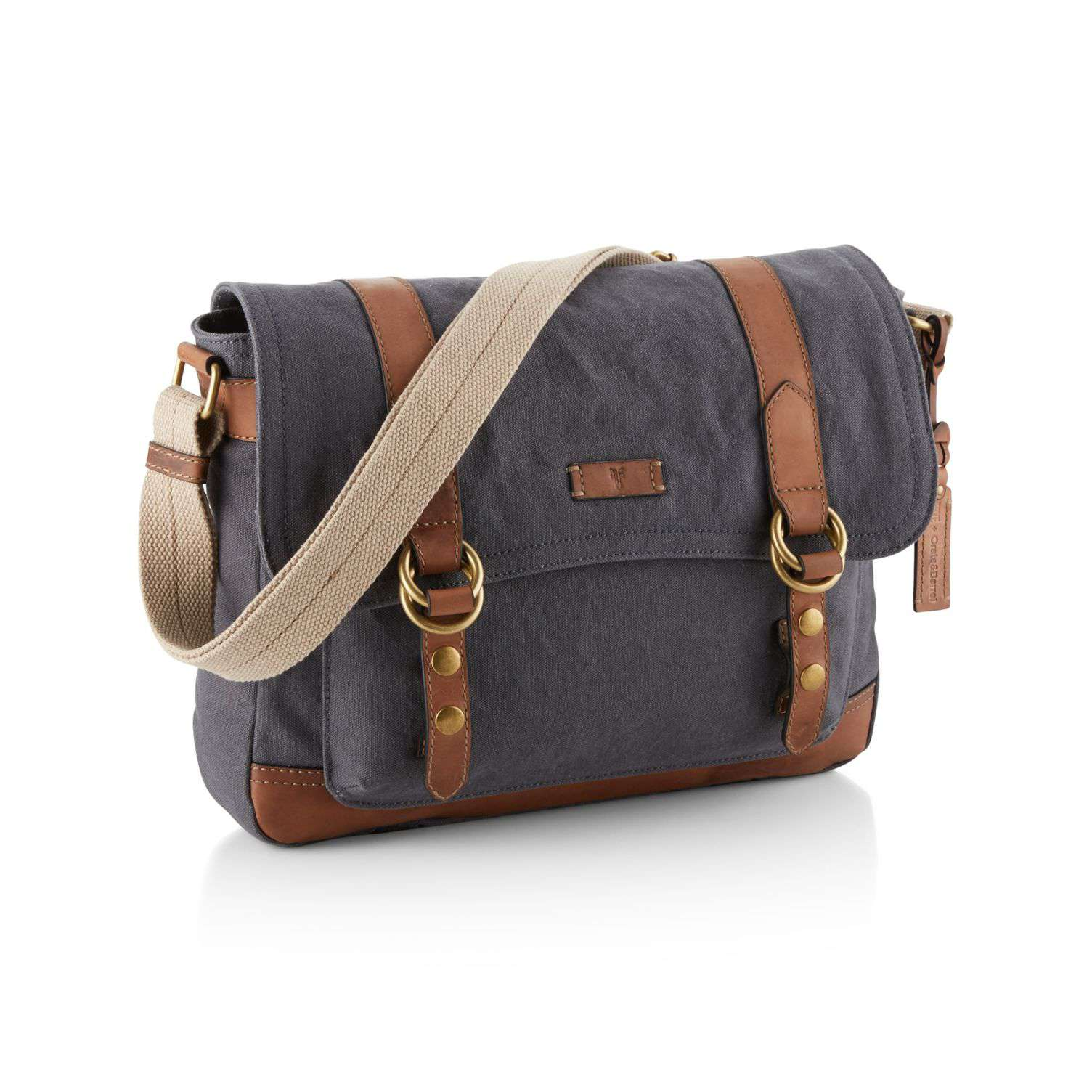 Blue-Grey Canvas Messenger Bag