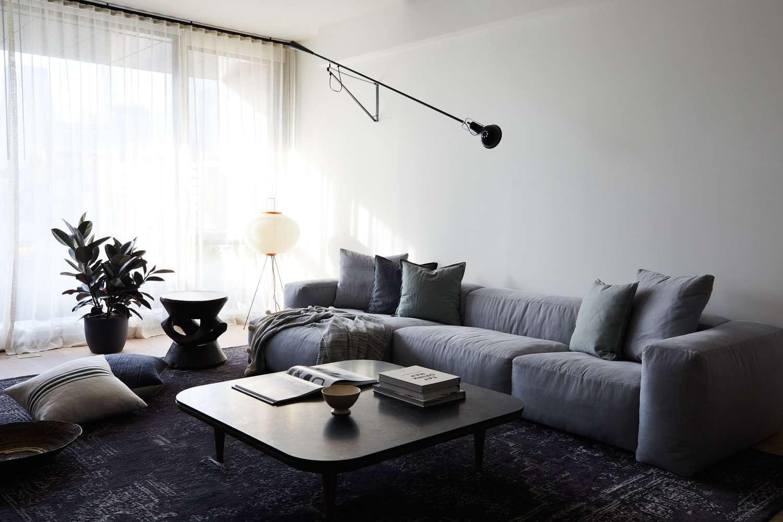 what is linen - blue linen sofa in white living room