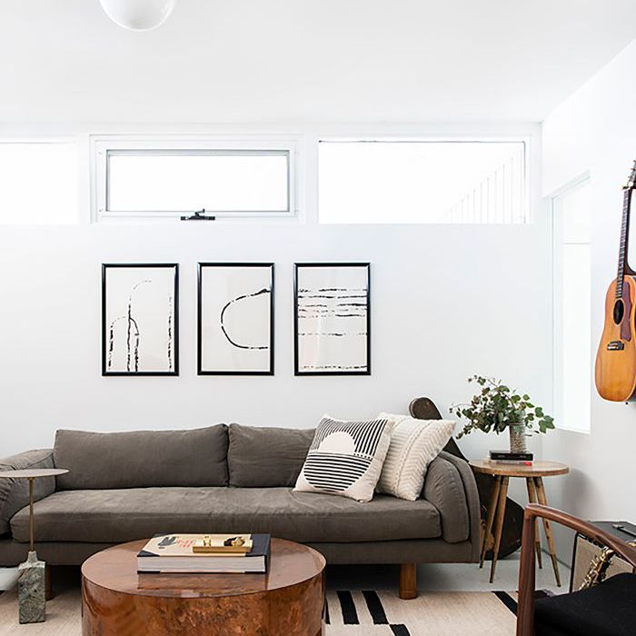Living room painted with one of Benjamin Moore's most popular white paints