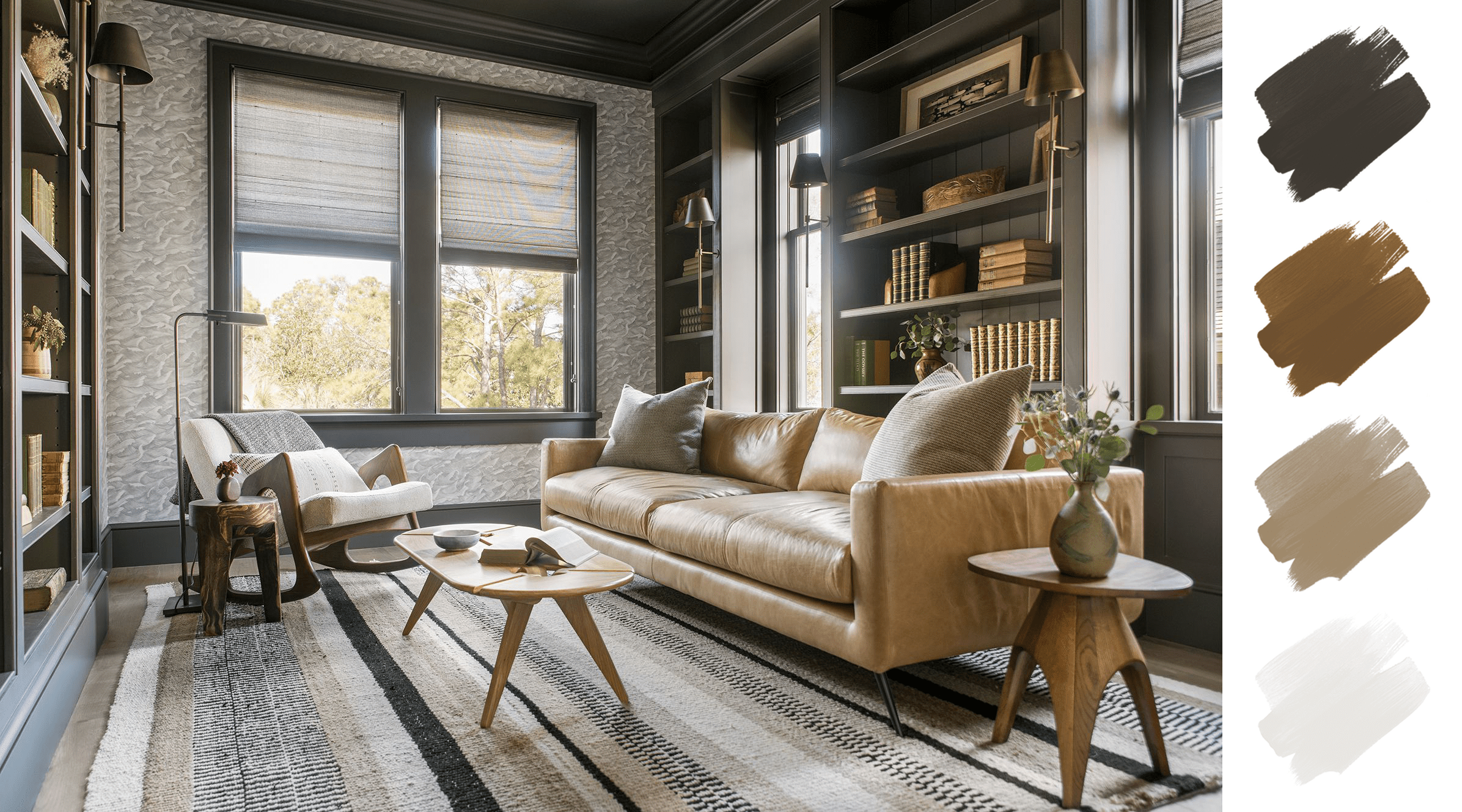 best home color schemes - gray and wood and golden leather