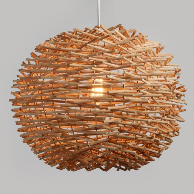 World Market Wicker Nest Pendant Lamp