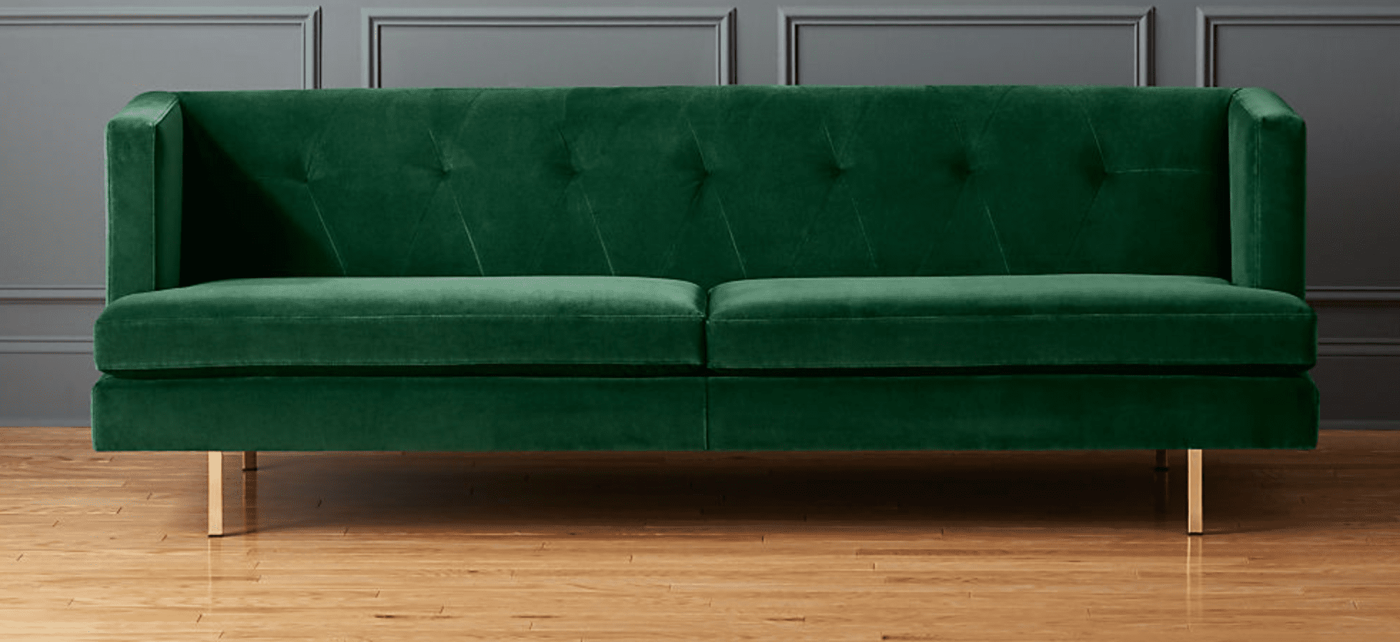 cb2 emerald green couch