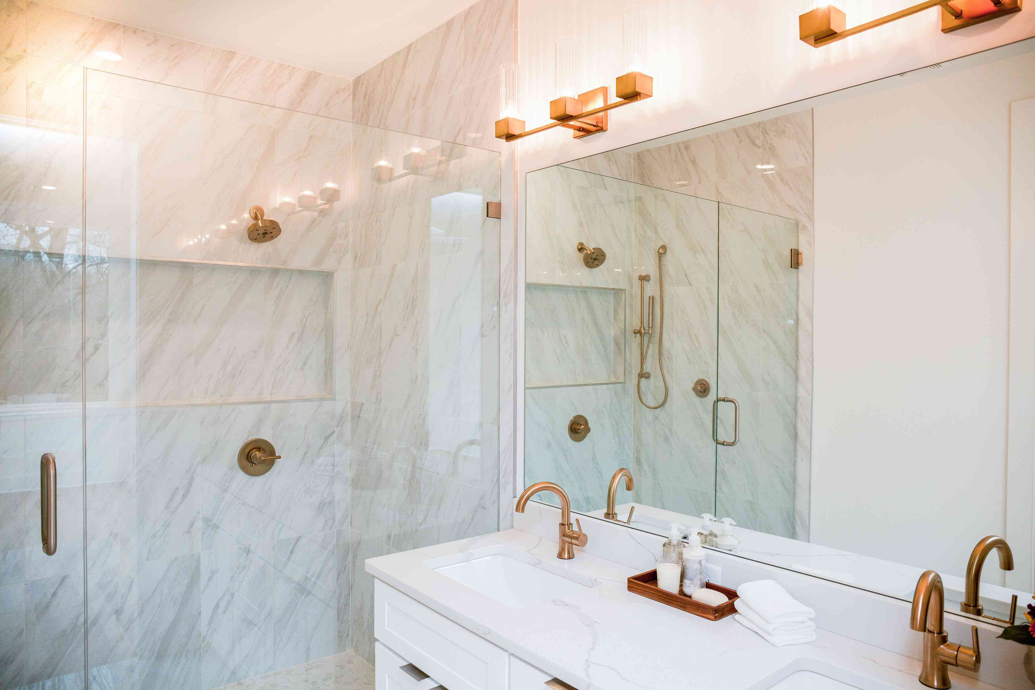 Marble and brass master bathroom
