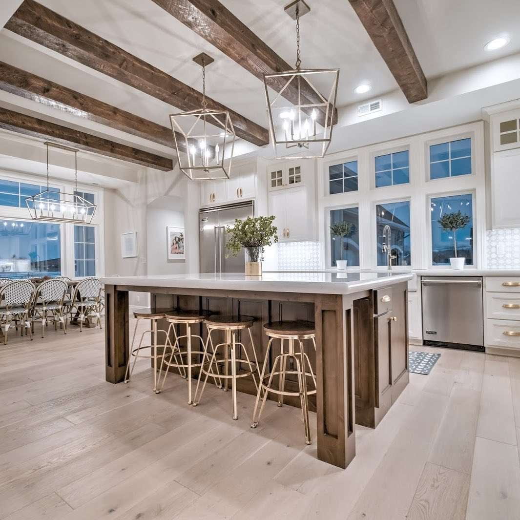 Kitchen with rustic beams