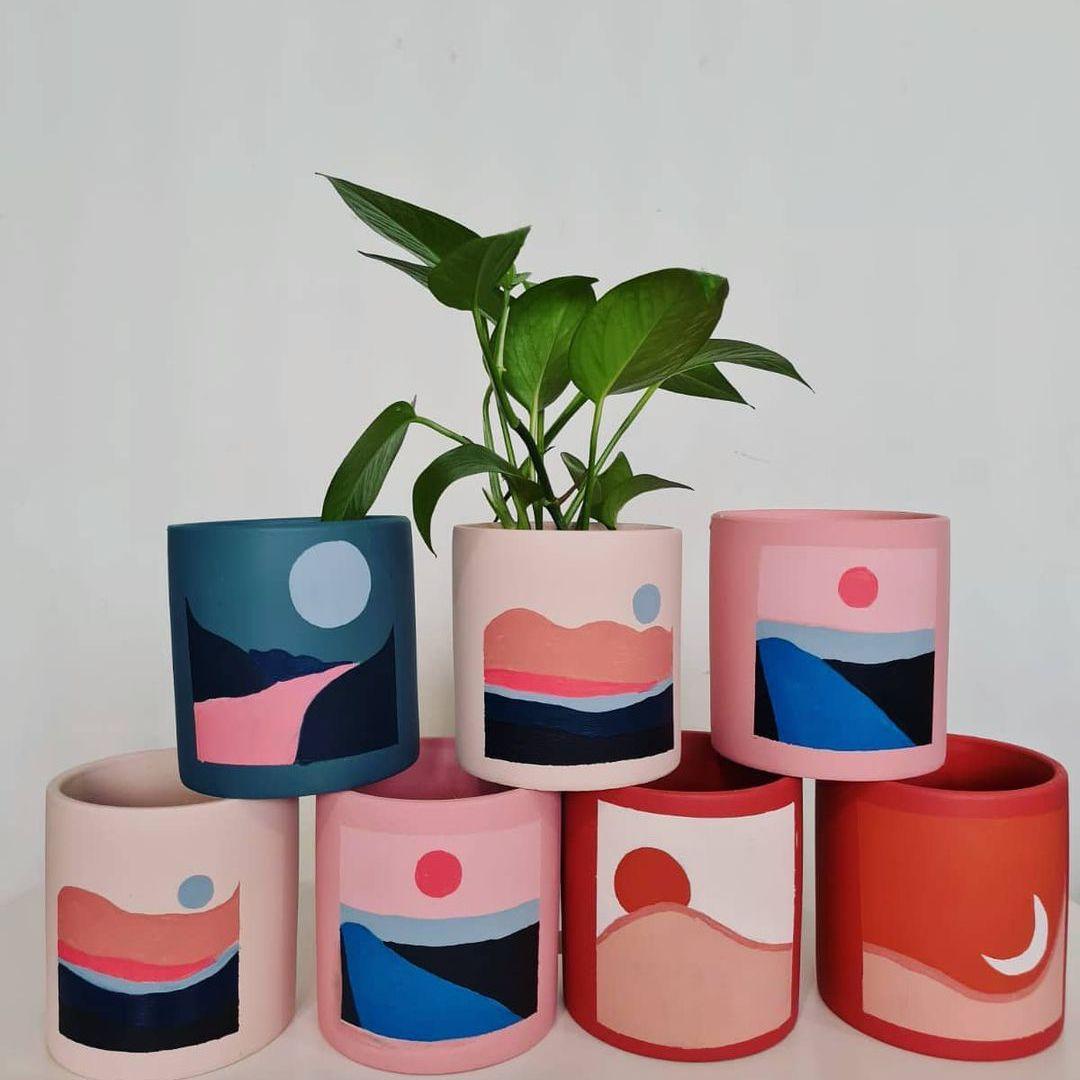 Painted terracotta pots.