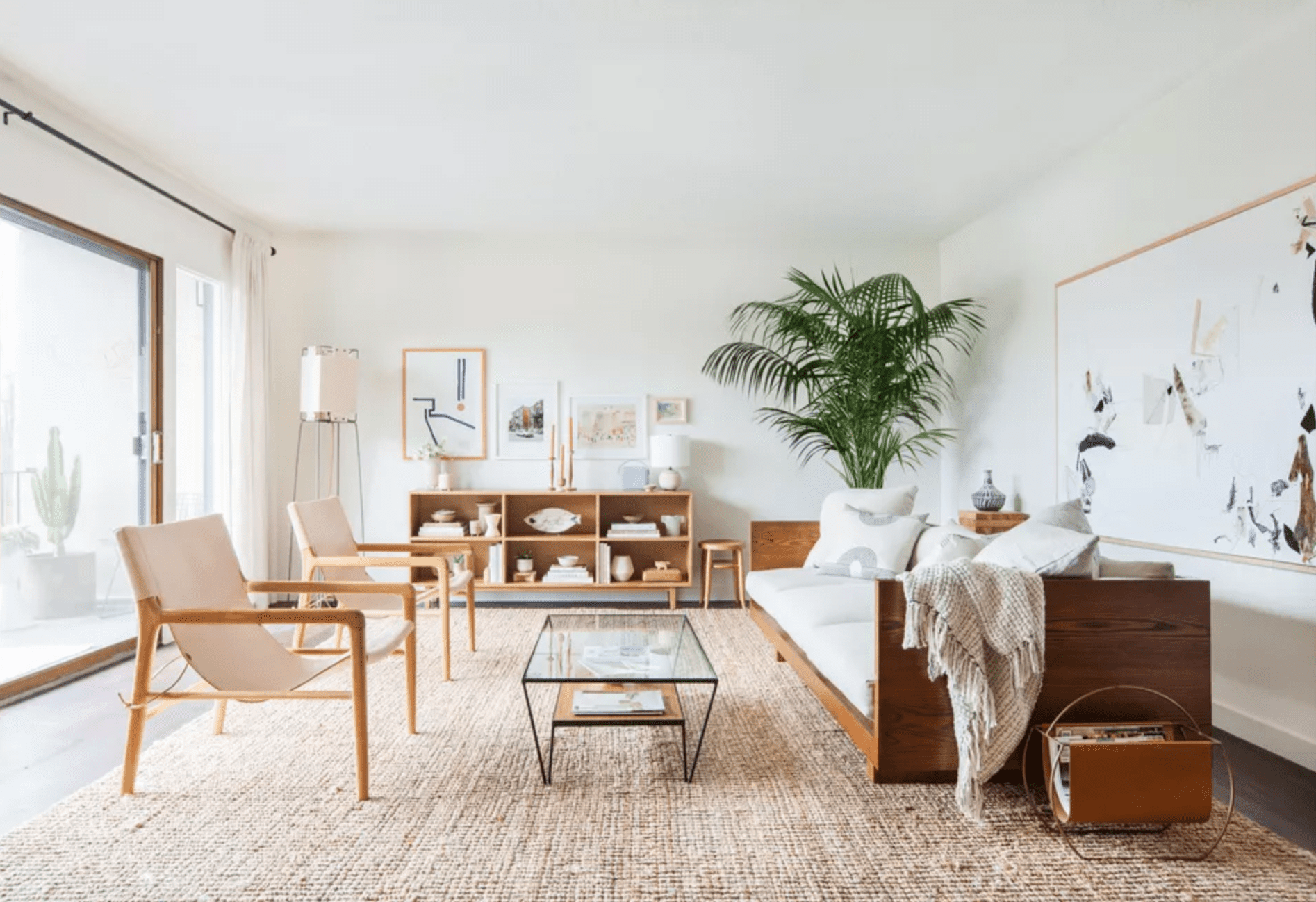 Woven décor elements in a spacious living room