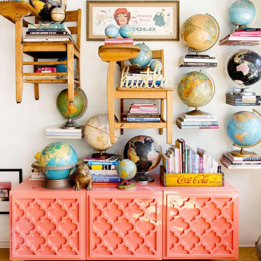 hidden bookshelves and desk chairs used as bookshelves
