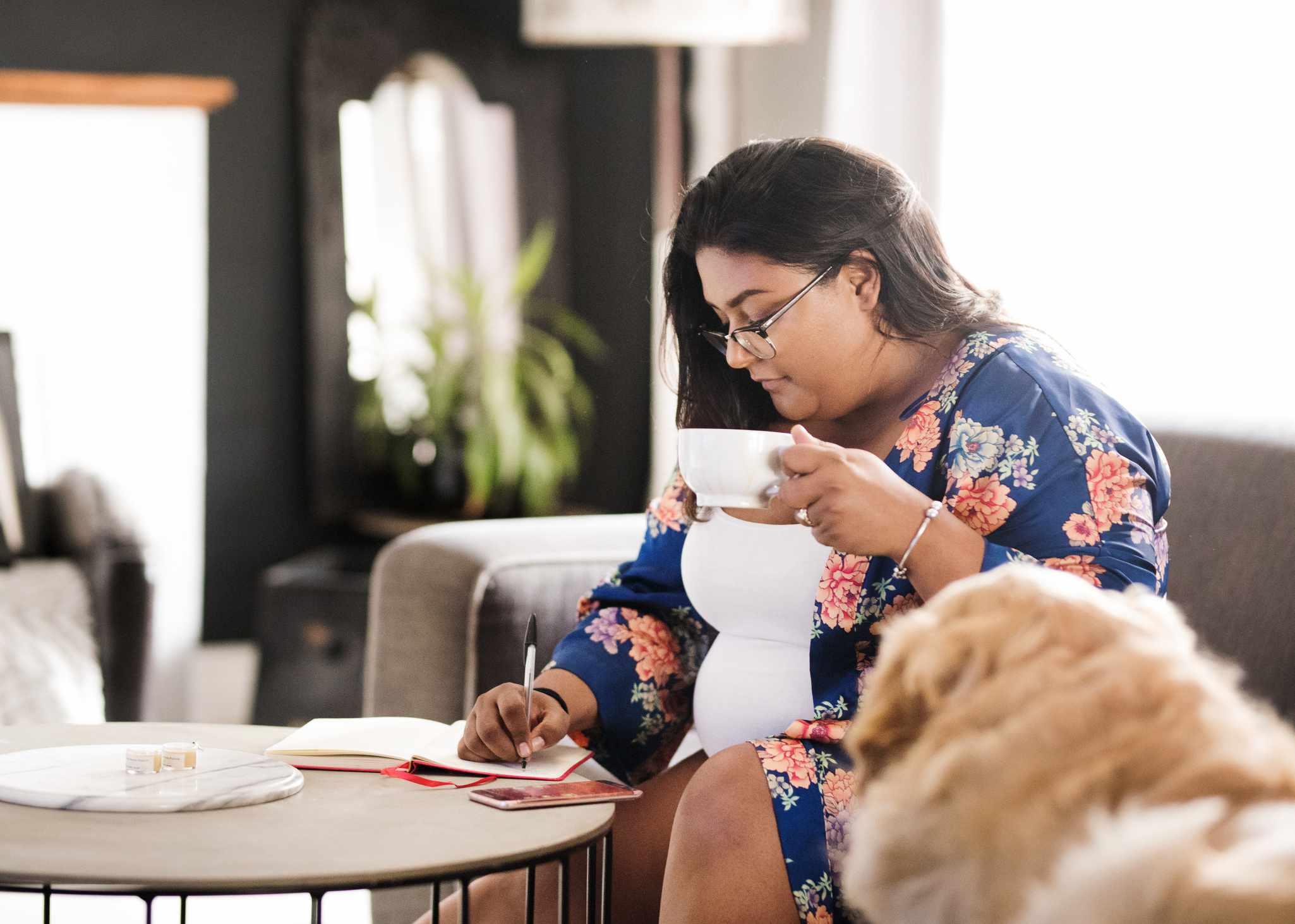 Woman writes in diary