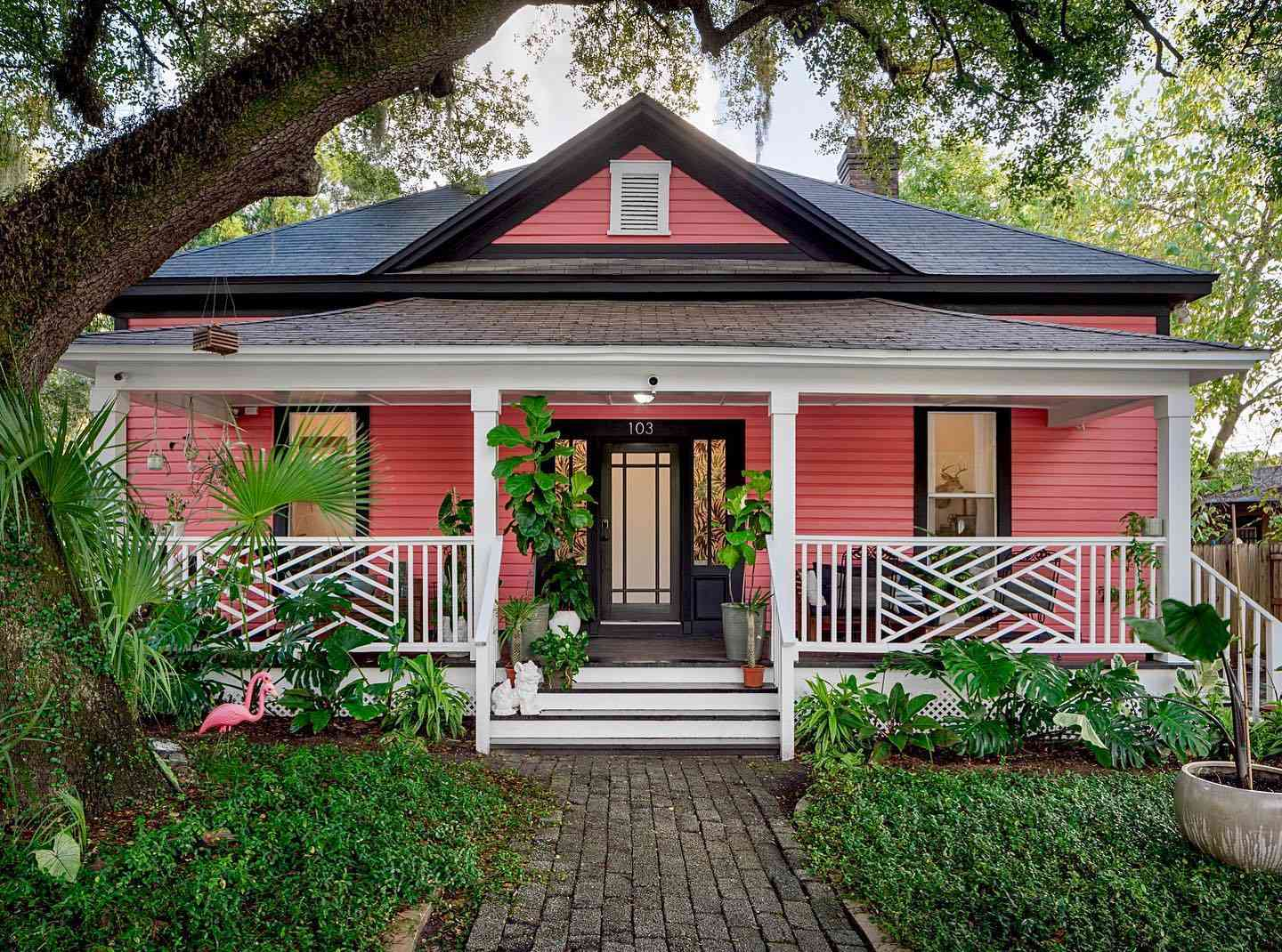 House with coral paint