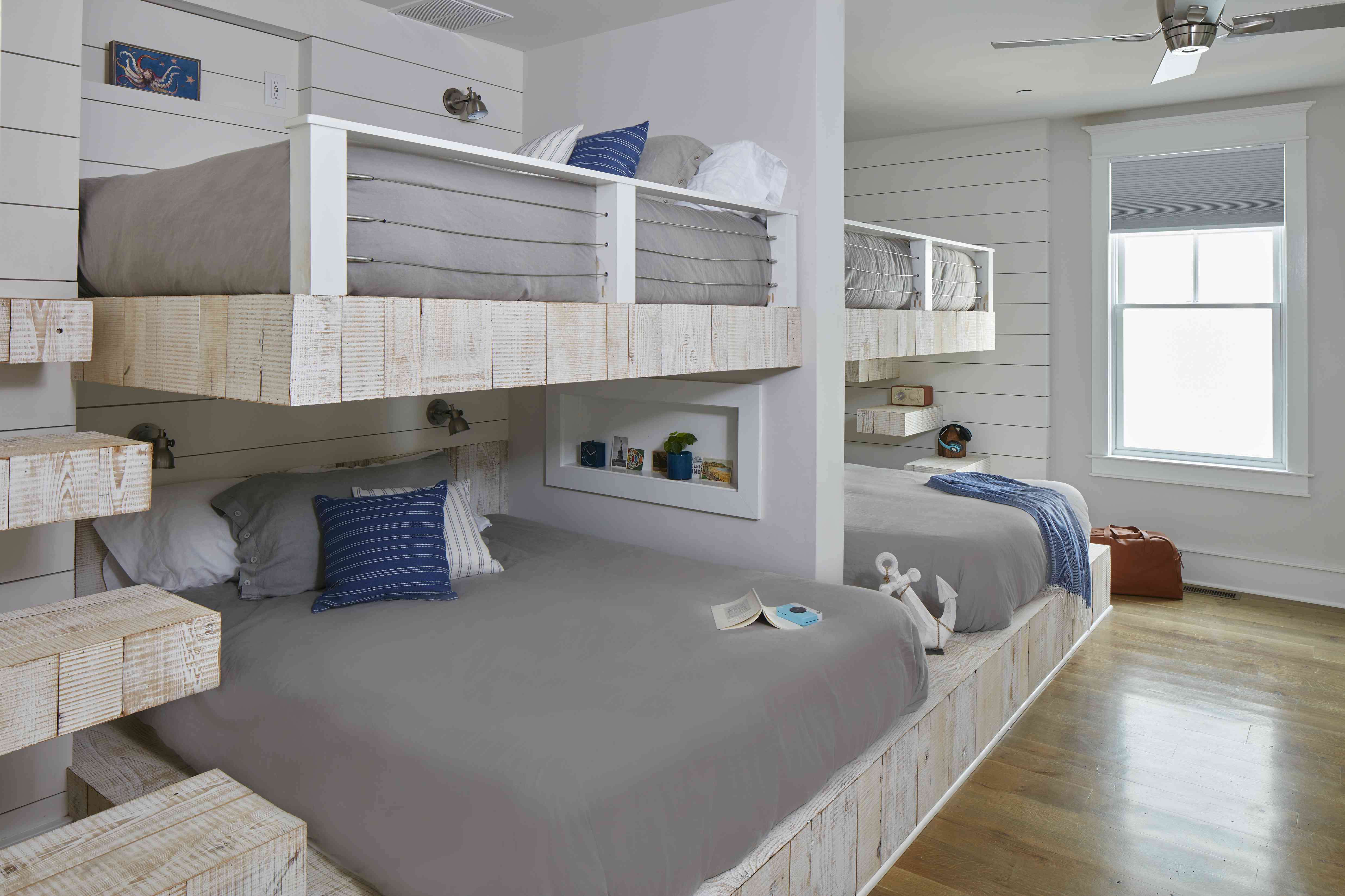 Gray bunk bed space