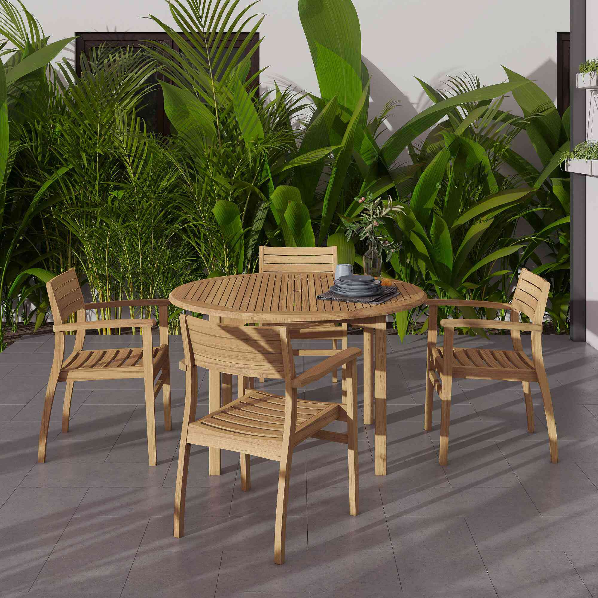 Round Teak Windsong Outdoor Dining Table