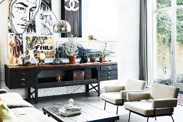 a industrial look living room