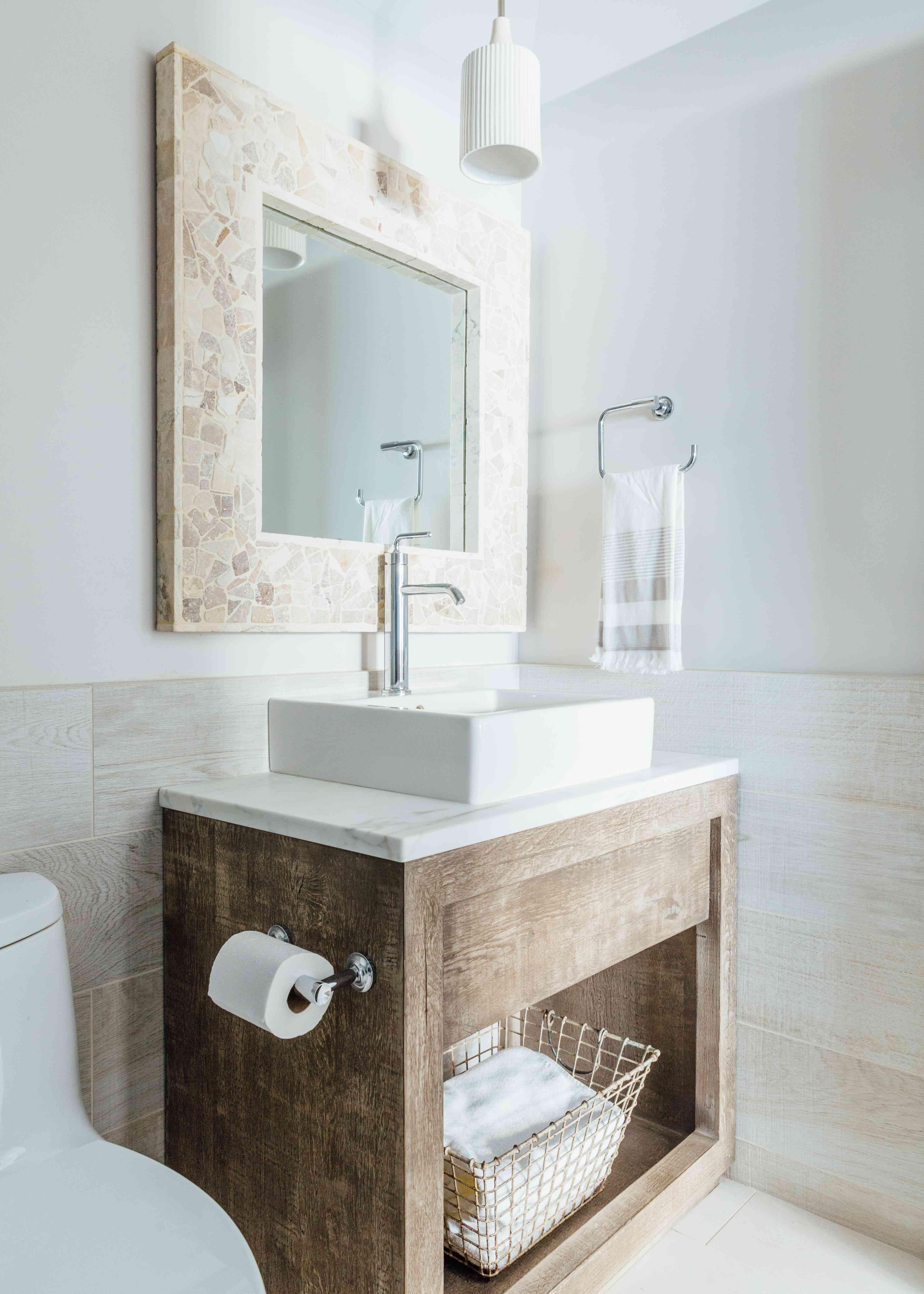 Rustic vanity in bathroom