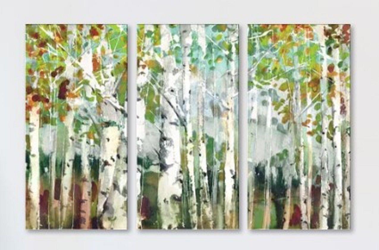 Marietta Cohen Abstract Birch Trees Triptych