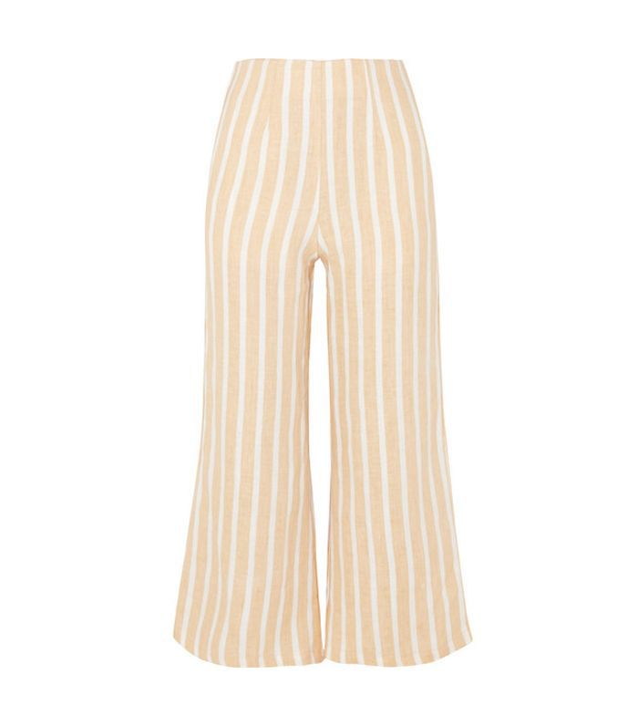 Thomas Cropped Wide-leg Striped Linen Pants