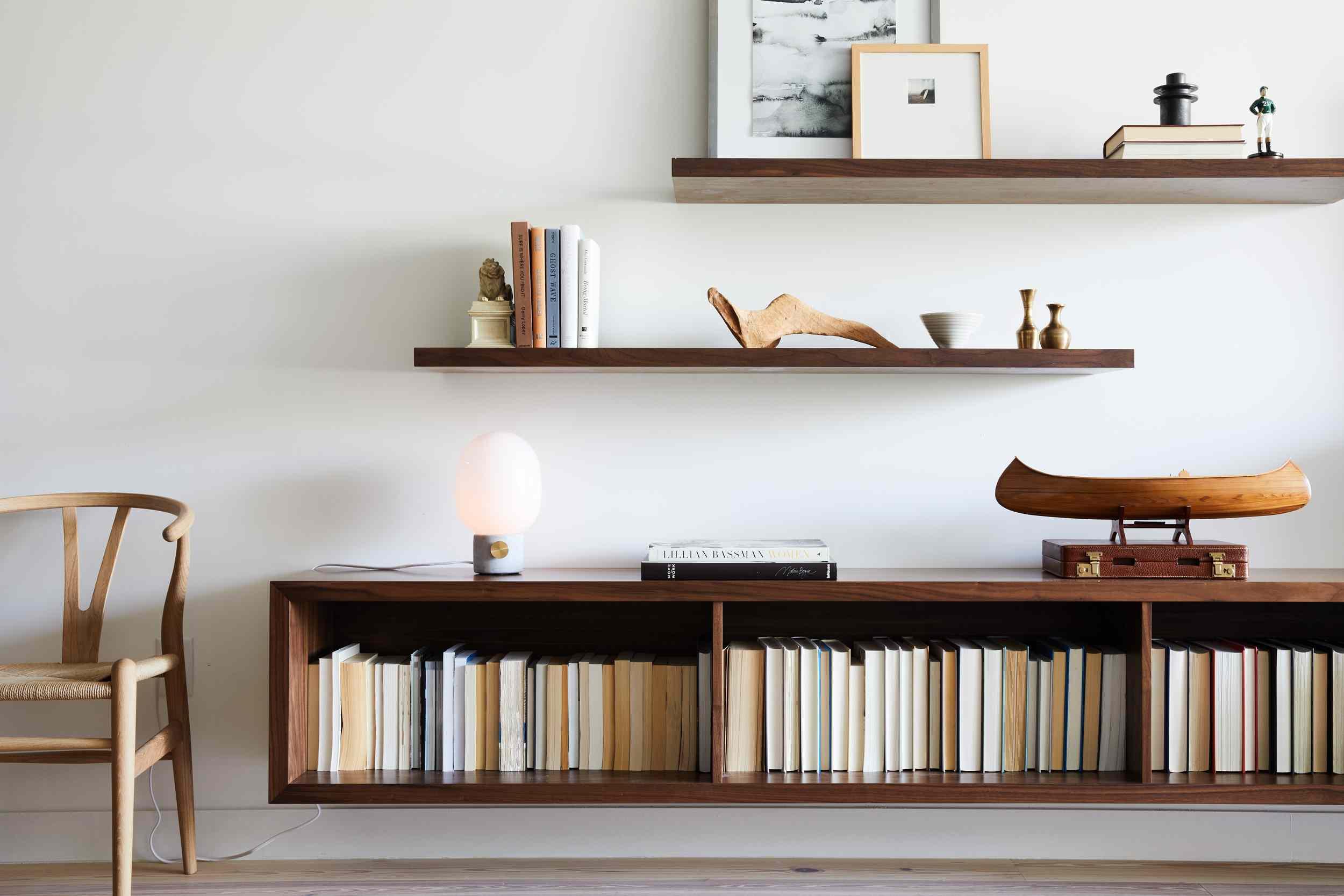 Styled floating shelves