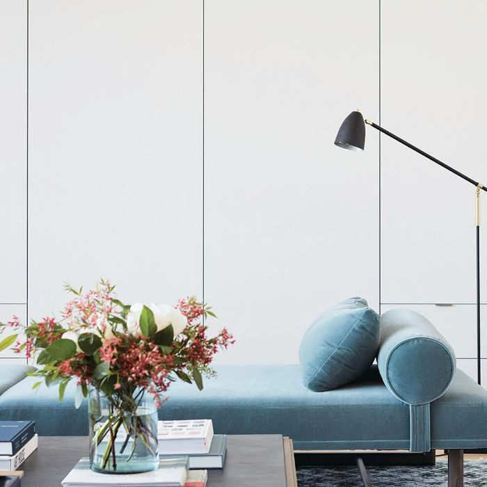 Modern living room with powder blue chaise