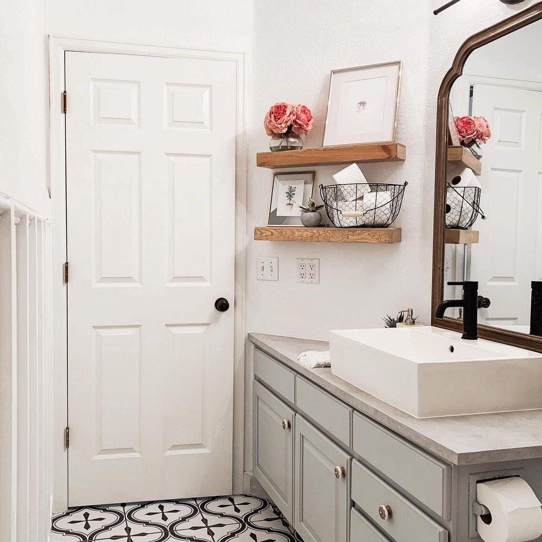 Bathroom with small wall shelves