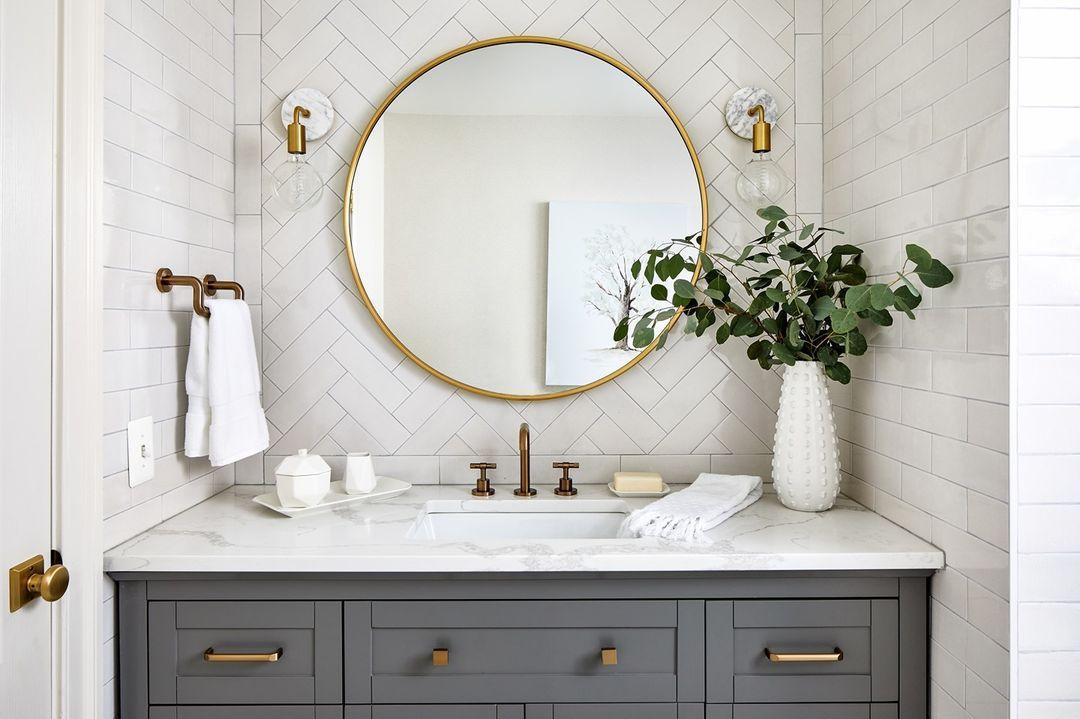 Bathroom with a gray vanity