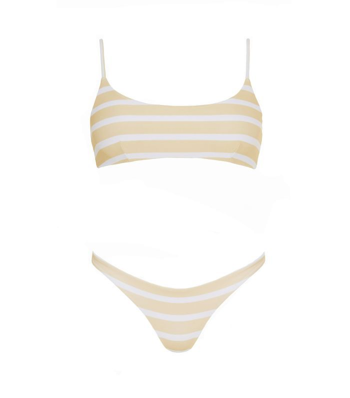 Faithfull the Brand Mazur Stripe Print Lemon Lola Bikini