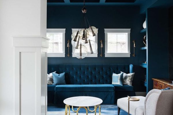 Blue room with coffered ceiling