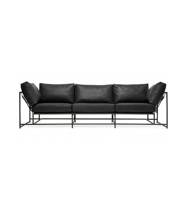 Stephen Kenn Inheritance Leather Sofa - Black Leather & Blackened Steel