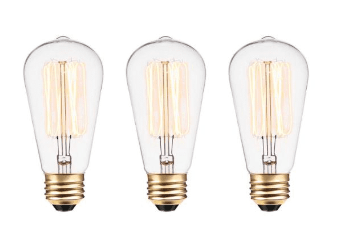 60W Vintage Edison S60 Squirrel Cage Incandescent Filament Light Bulb (3-Pack) by