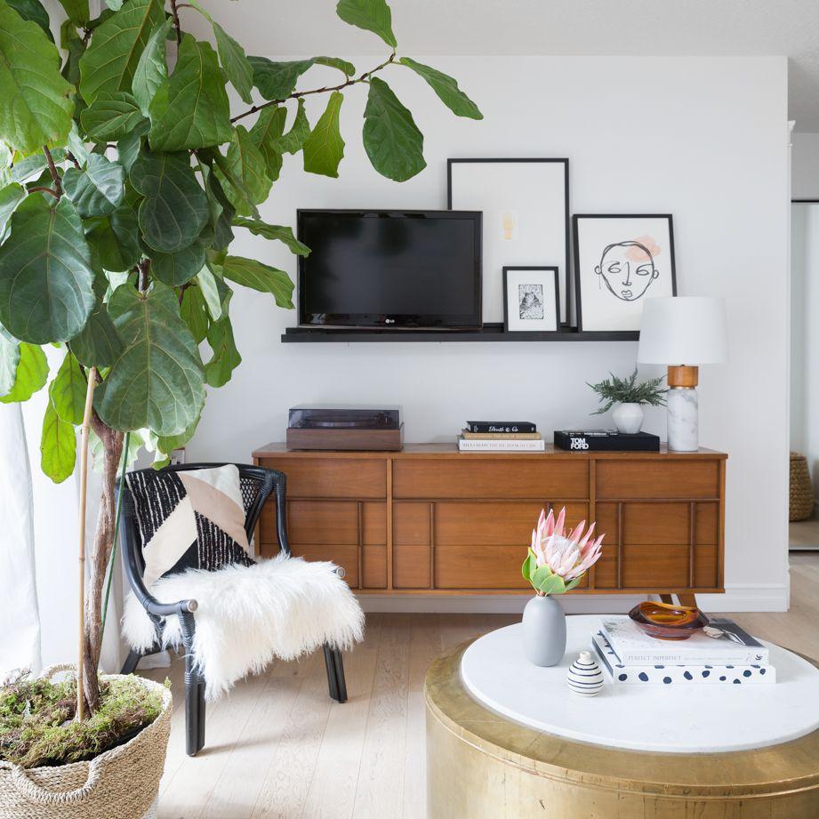 Apartment living room with dresser media center