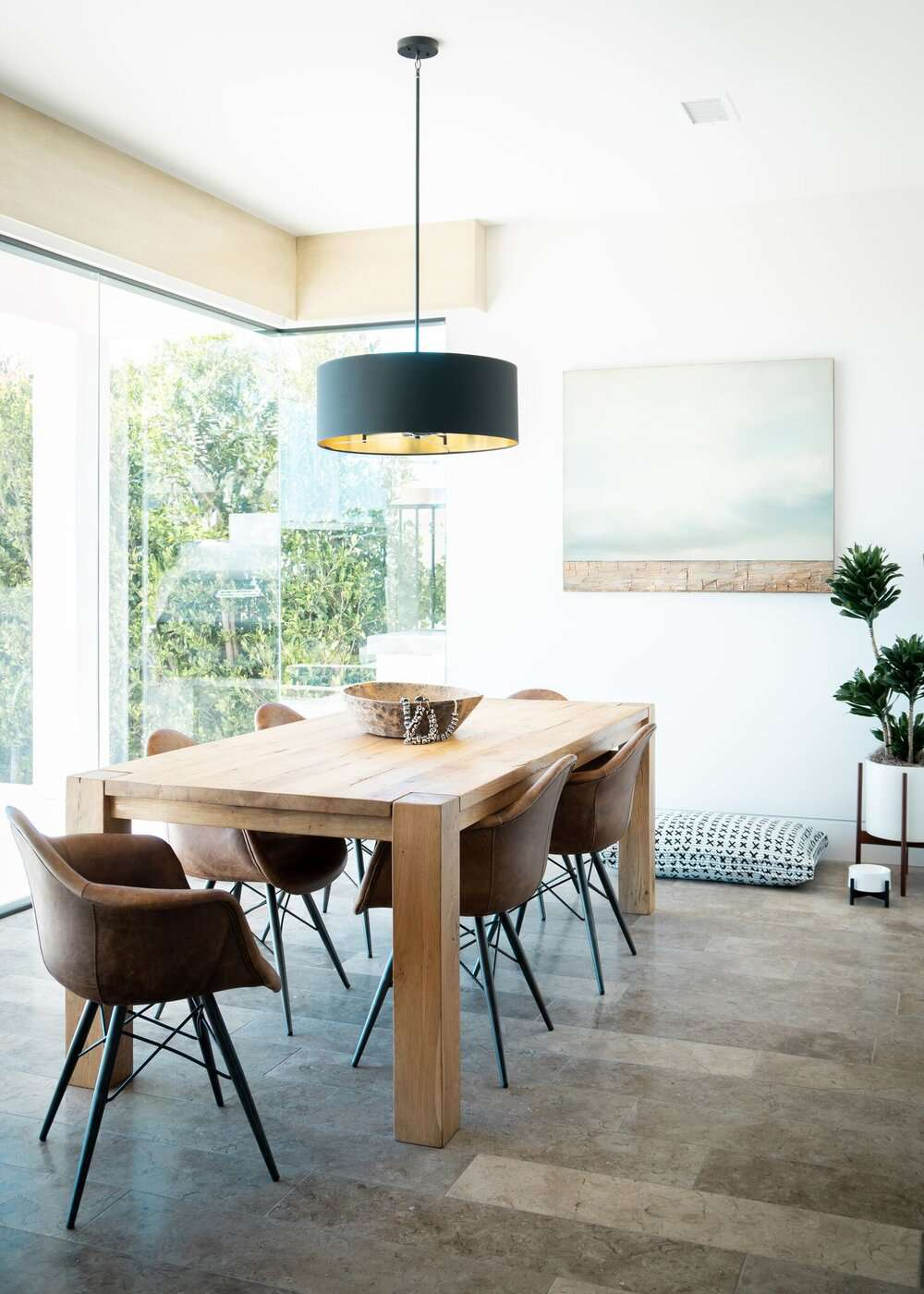 Dining room with wooden coffee table.