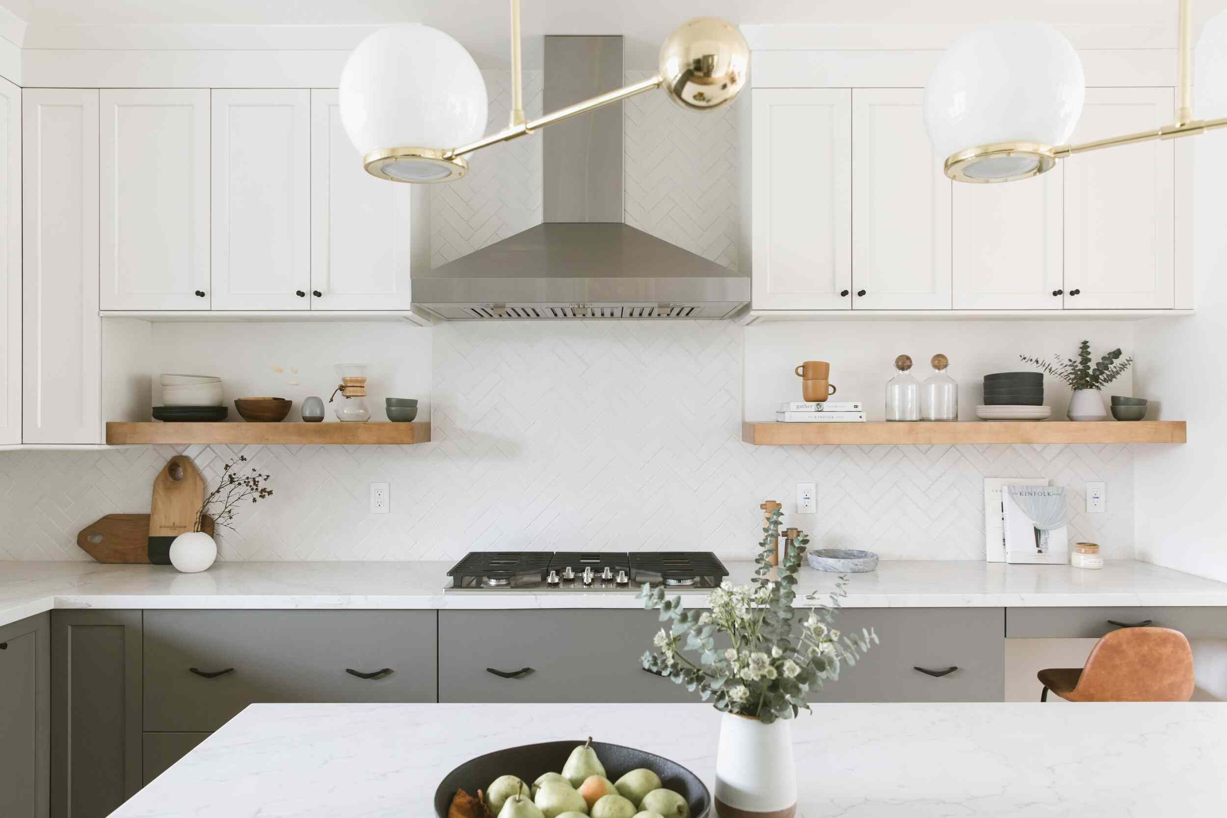 best kithcen ideas - gray and white kitchen with open shelving and pendant lighting