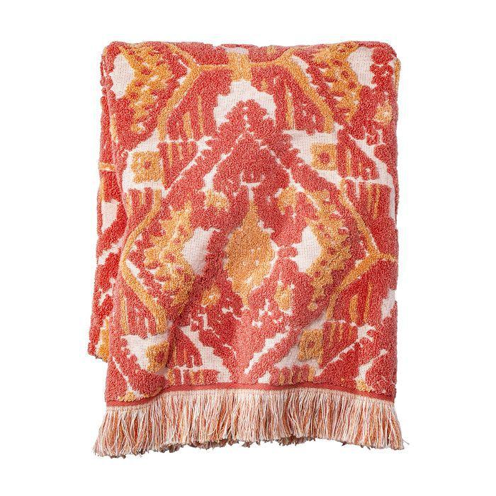 Target Ikat Fringed Bath Towel Coral Orange
