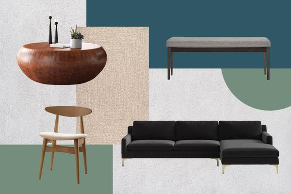 MyDomaine's picks for Wayfair Way Day with a couch, coffee table and chairs