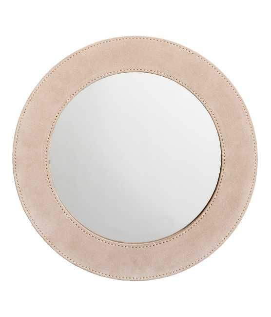 - Round Suede Mirror - Light beige - H & m Home