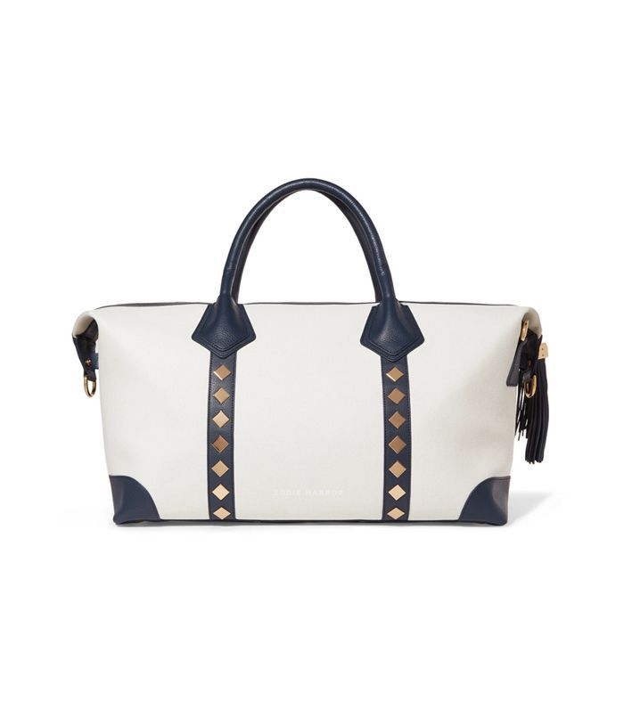 Voyager Studded Leather-trimmed Canvas Weekend Bag