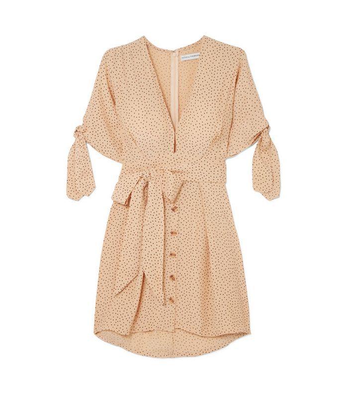 Birgit Tie-detailed Polka-dot Crepe De Chine Mini Dress