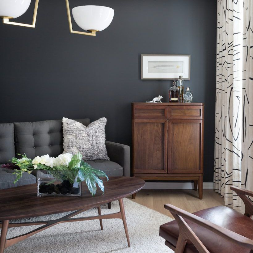 Dark gray living room with simple furnishing