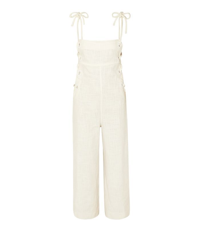 Bob Lace-up Linen-blend Jumpsuit
