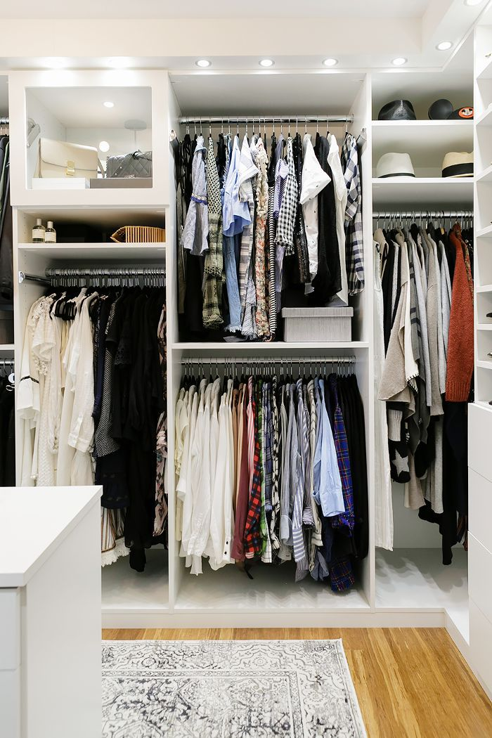 Walk-in closet with accent lighting