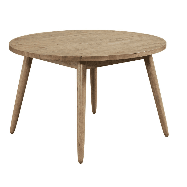 A round wood table with four tapered and splayed legs.