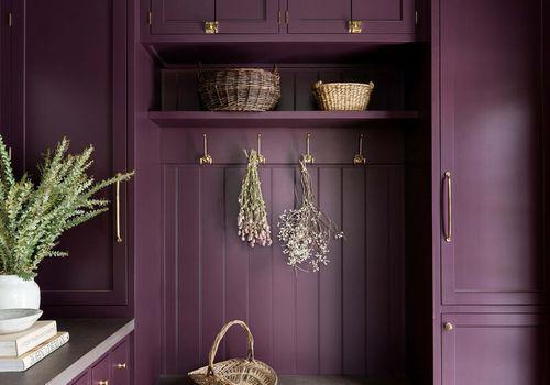 Bright eggplant mudroom