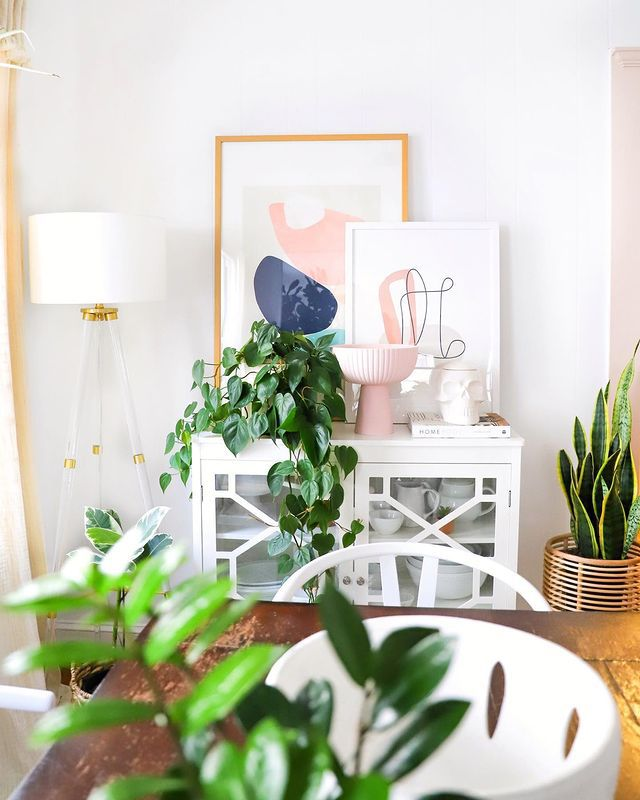 heartleaf philodendron on a buffet in a dining room