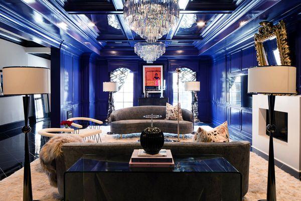 blue art deco living room
