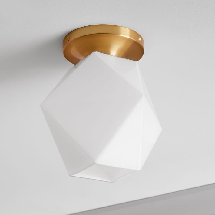 Sculptural Glass Faceted Flushmount