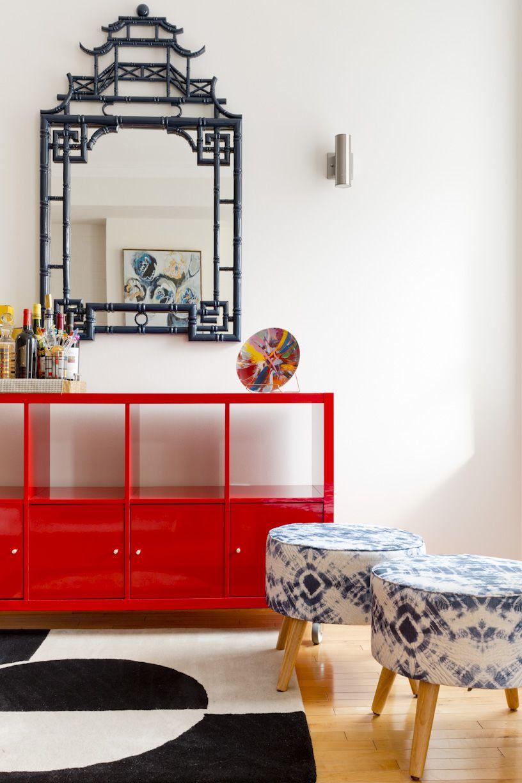 Bold crimson entryway table.