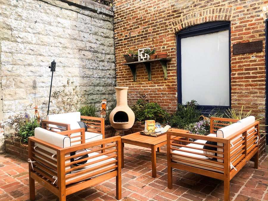 Outdoor patio with wood furniture