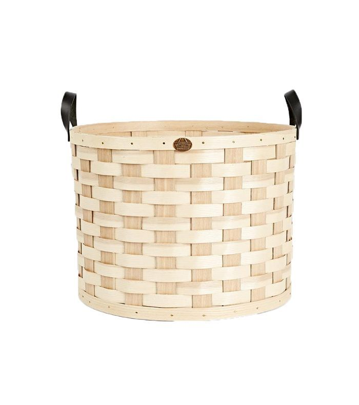 Oversized Ash Wood & Leather Round Basket