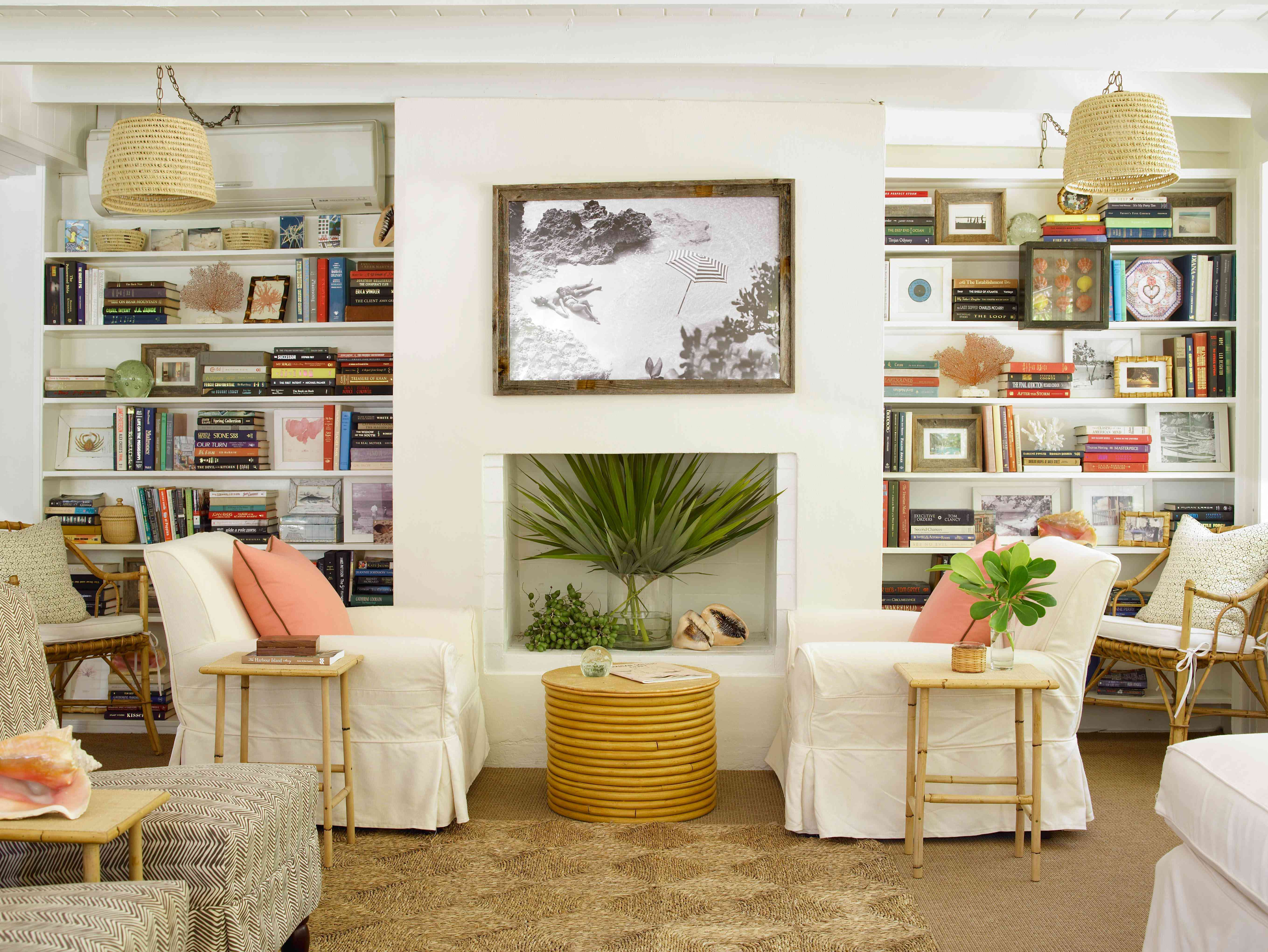 coastal white couch living room
