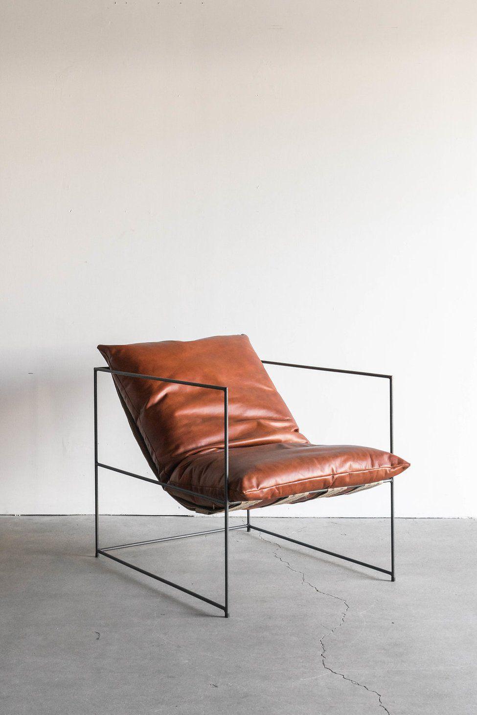 Present Time Leather Sierra Chair In Havana