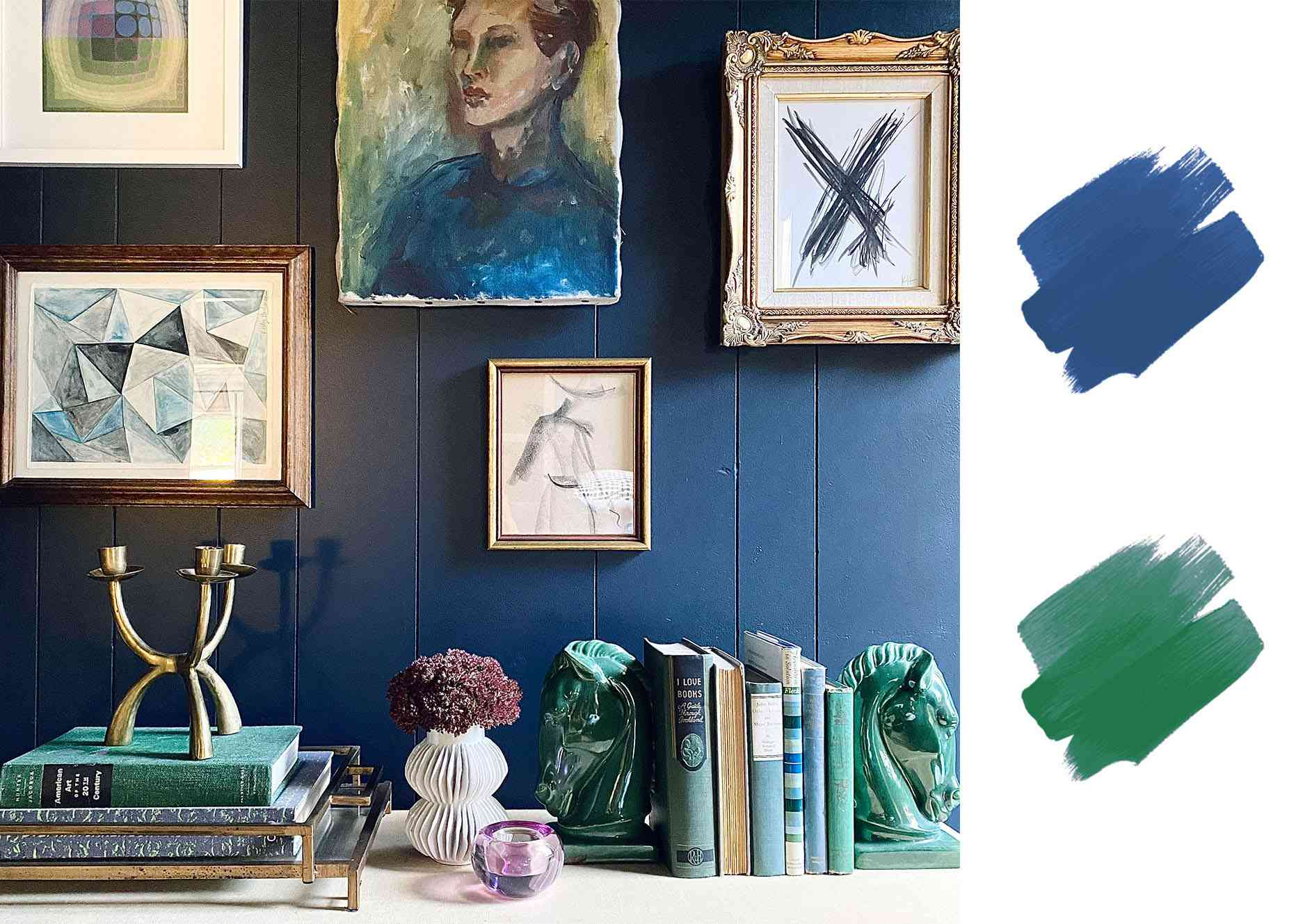 best interior color schemes - blue and grass green